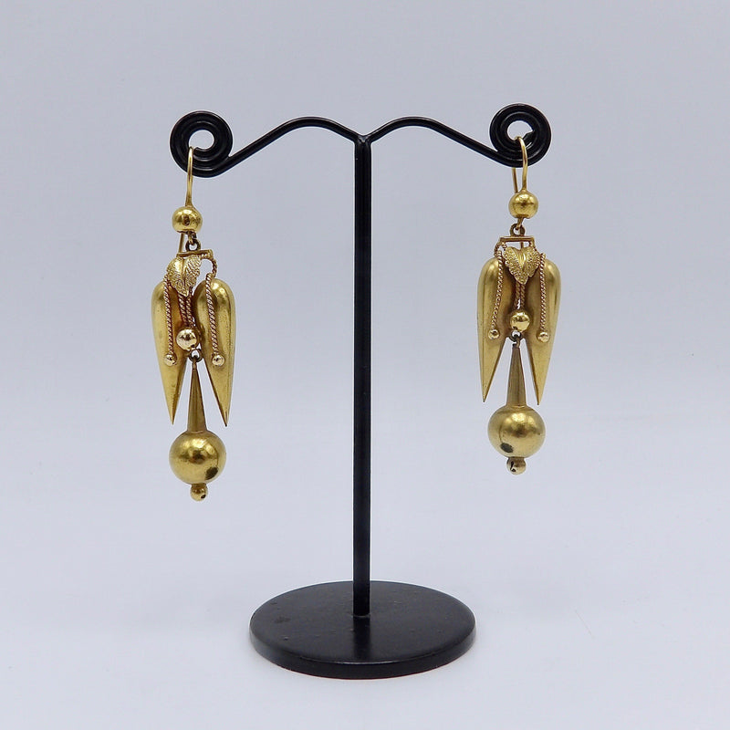 Victorian 18K Gold Filled Etruscan Revival Drop Earrings Earrings Kirsten's Corner