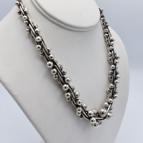 Taxco Sterling Silver Mexican Necklace with Graduated Beads - Kirsten's Corner Jewelry