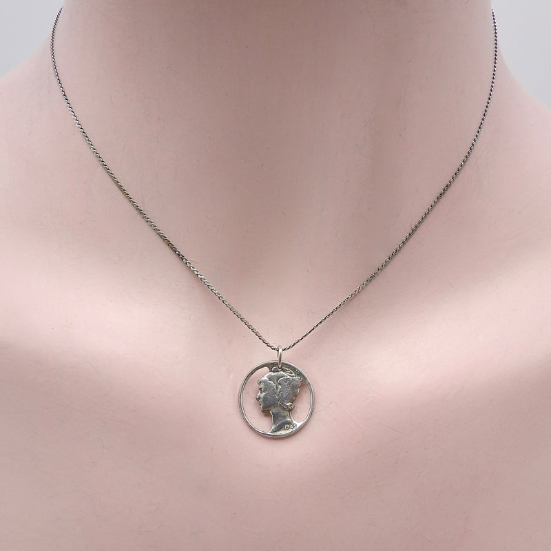 Sterling Silver Mercury Dime Pendant w/ Chain Necklace Kirsten's Corner Jewelry