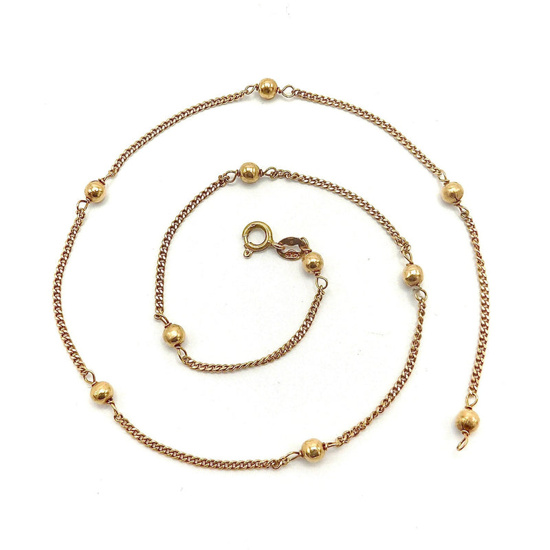 Vintage 14K Gold Ball & Chain Motif Chain Necklace Chain Kirsten's Corner Jewelry