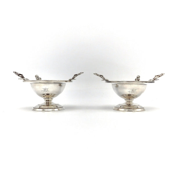 A Pair Etruscan Revival Wood & Hughes 900 Silver Salt Cellars in Original Case Objects of Virtue Kirsten's Corner Jewelry