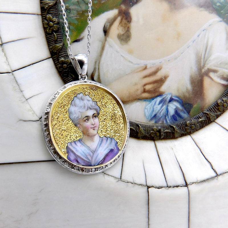 Victorian Enamel Miniature Portrait Medallion with 14K Gold Chain Charm Kirsten's Corner Jewelry