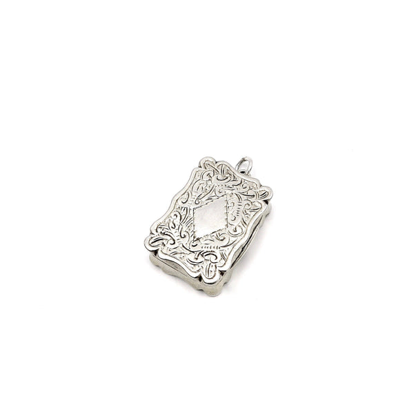 Small Victorian Sterling Silver Vinaigrette With Floral Motif Vinaigrette Kirsten's Corner