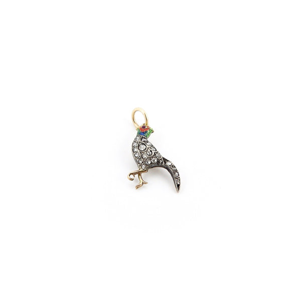 Victorian Rose Cut Diamond and Enamel Pheasant Charm - Kirsten's Corner Jewelry