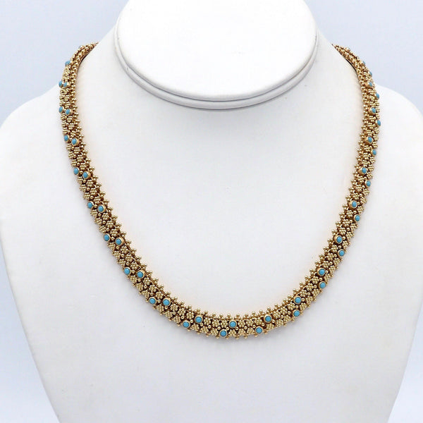 Etruscan Revival Portuguese Cannetille 19.2K Gold & Turquoise Necklace - Kirsten's Corner Jewelry