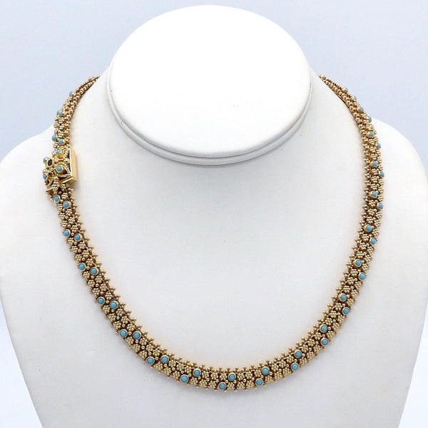 Etruscan Revival Portuguese Cannetille 19.2K Gold & Turquoise Necklace Necklace Kirsten's Corner Jewelry
