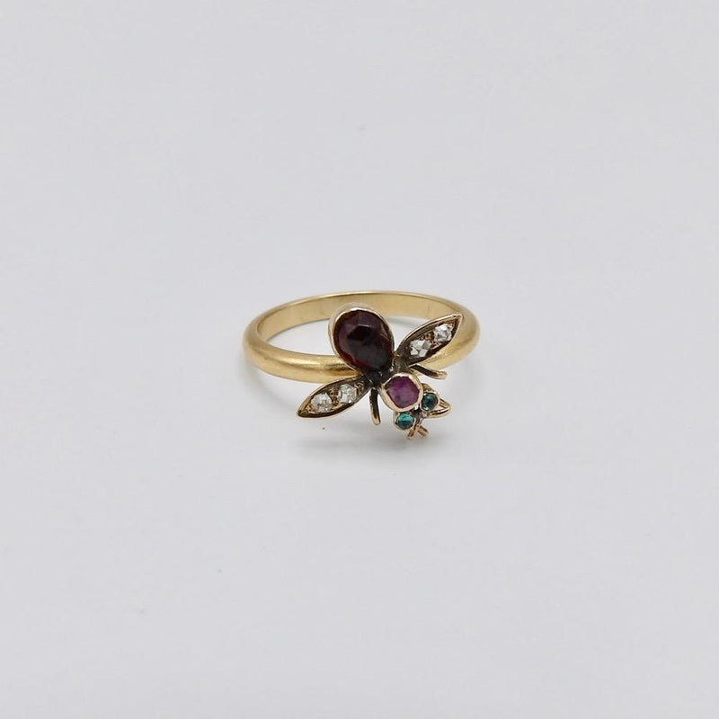 Garnet, Diamond, Emerald and Sapphire Fly Ring Ring Kirsten's Corner Jewelry