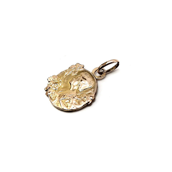 Vintage French Art Nouveau E.Dropsy Fix Gold Medallion Charm Kirsten's Corner