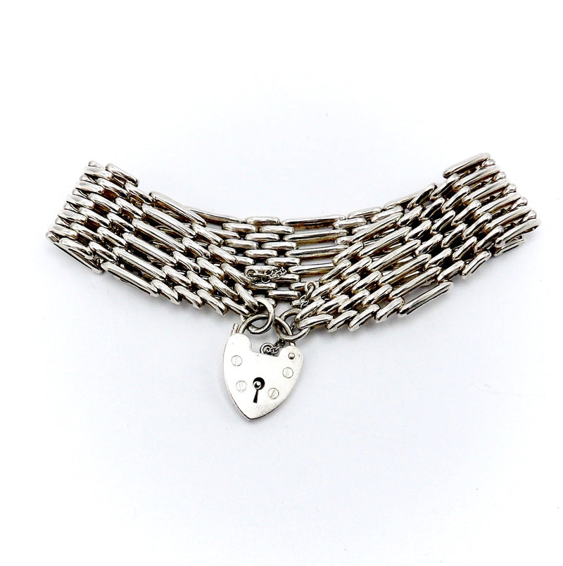 Vintage British Sterling Silver Gate Bracelet with Heart Clasp Bracelet Kirsten's Corner Jewelry