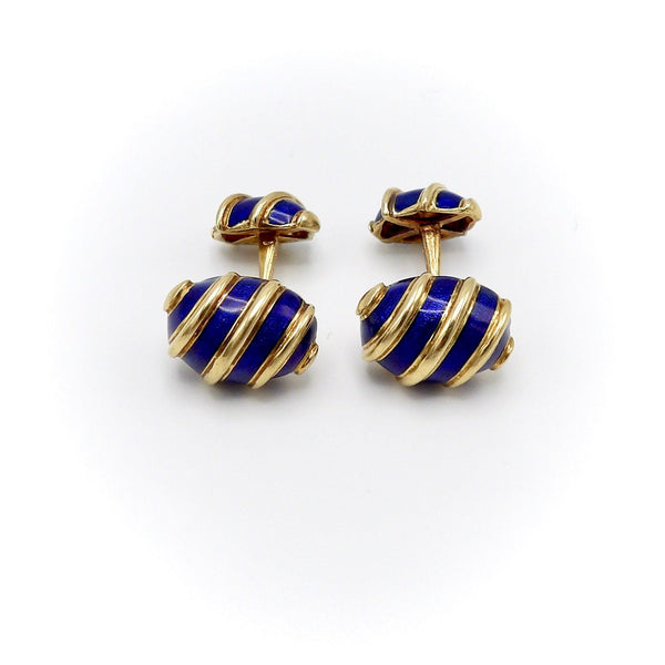 "18KT Gold and Blue Enamel Schlumberger for Tiffany & Co ""Olives"" Cufflinks - Kirsten's Corner Jewelry"