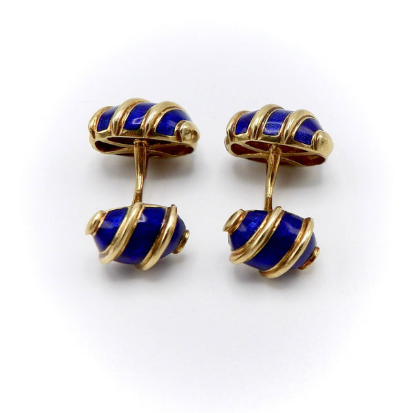 "18KT Gold and Blue Enamel Schlumberger for Tiffany & Co ""Olives"" Cufflinks Cufflinks Kirsten's Corner Jewelry"
