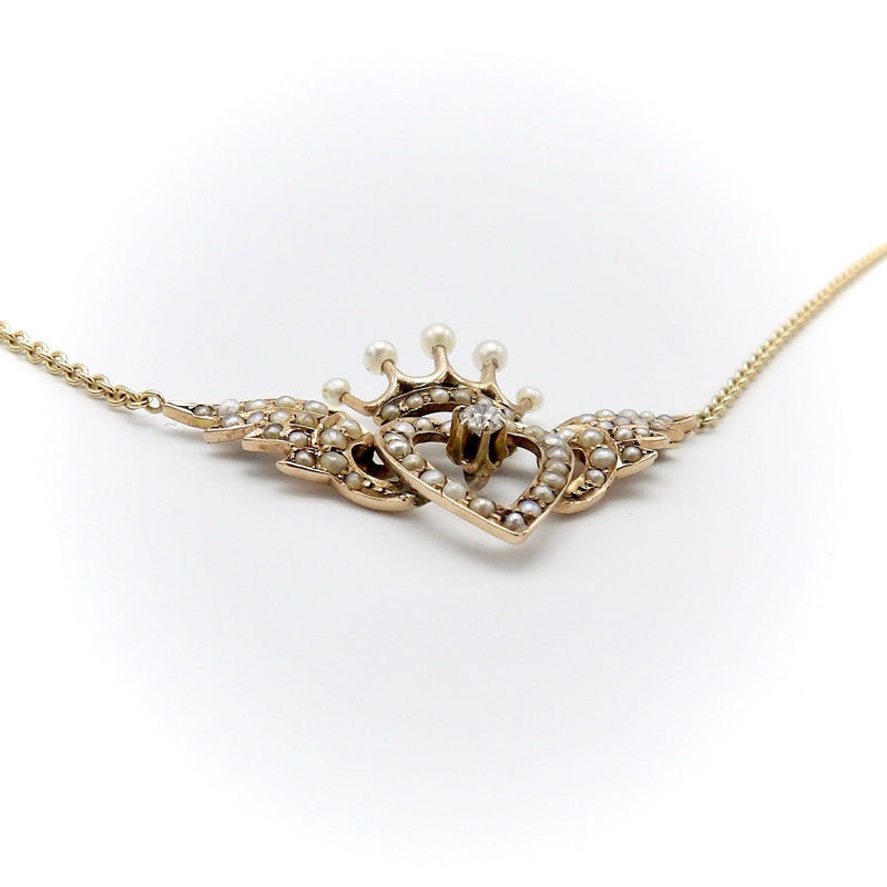 Signature Victorian 14K Gold Winged Heart and Crown Necklace with Pearls and Diamond Necklace Kirsten's Corner Jewelry