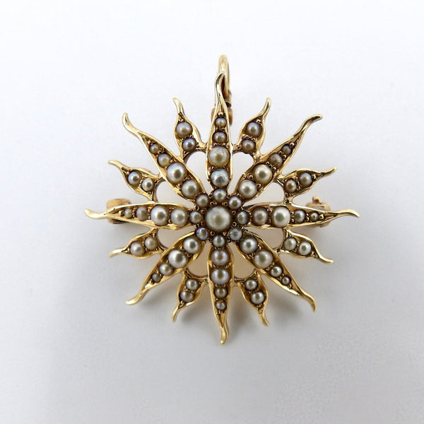 Late Victorian 14K Gold & Pearl Star Shaped Pendant Brooch - Kirsten's Corner Jewelry