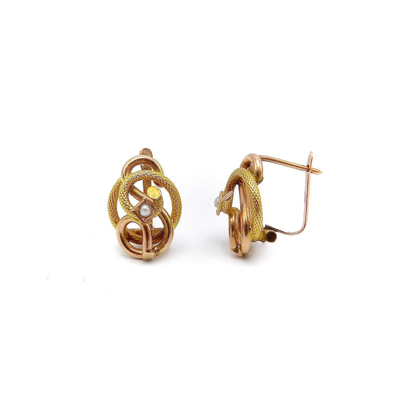 Victorian 14K Gold and Seed Pearl Etruscan Revival Love Knot Earrings Earrings Kirsten's Corner Jewelry