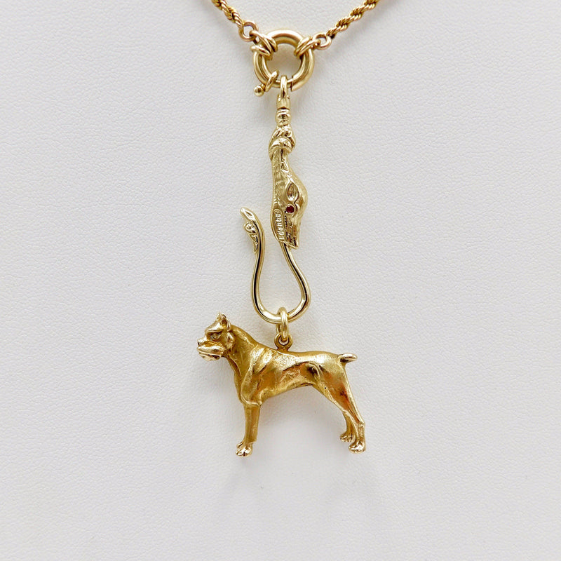 14K Gold Signature Dog Head Shepherd's Hook with Ruby Eyes Charm Kirsten's Corner Jewelry
