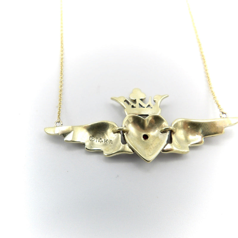 Victorian Pearl Encrusted Winged Heart with Crown Necklace in 14K Gold - Kirsten's Corner Jewelry