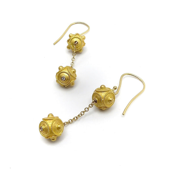 18K Gold Etruscan Revival Double Ball Dangle Earrings Earrings Kirsten's Corner Jewelry