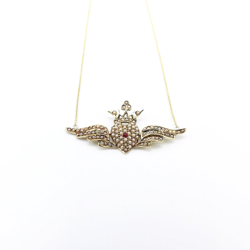 Victorian Pearl Encrusted Winged Heart with Crown Necklace in 14K Gold Necklace Kirsten's Corner Jewelry