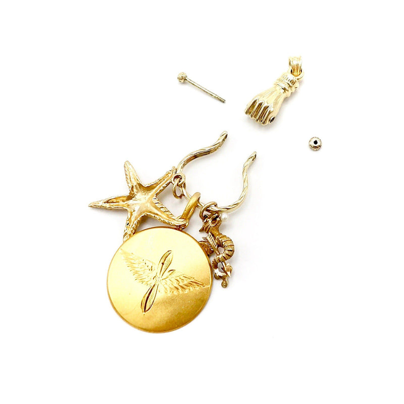 14K Gold Victorian Inspired Mechanical Hand Charm Holder Necklace Kirsten's Corner Jewelry