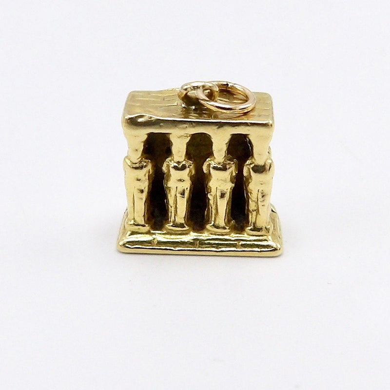 Vintage 18K Gold Porch of Caryatids Erechtheion Greek Temple Charm Charm Kirsten's Corner Jewelry