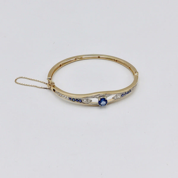 Edwardian 14K Gold and Platinum Bracelet with Diamonds and Sapphires - Kirsten's Corner Jewelry