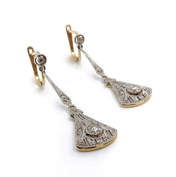 Edwardian 18K Gold & Platinum Diamond Filigree Earrings Earrings Kirsten's Corner