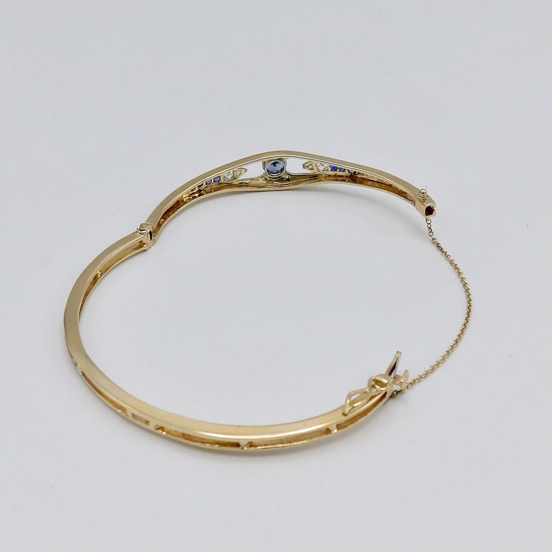 Edwardian 14K Gold and Platinum Bracelet with Diamonds and Sapphires Bracelet Kirsten's Corner Jewelry