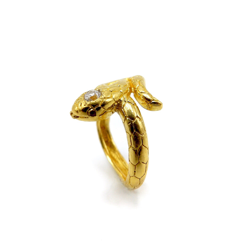 24K Gold Vintage Snake Ring with Rubies and Diamond Ring Kirsten's Corner