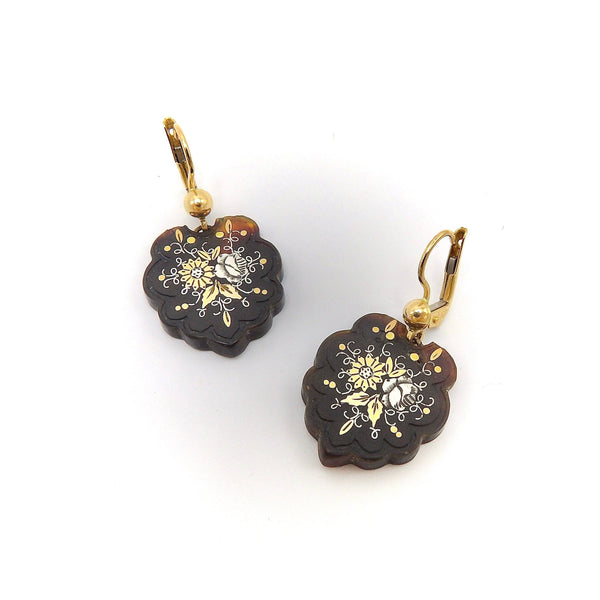 Victorian Floral Pique Earrings with 14K Gold & Silver Details Earrings Kirsten's Corner