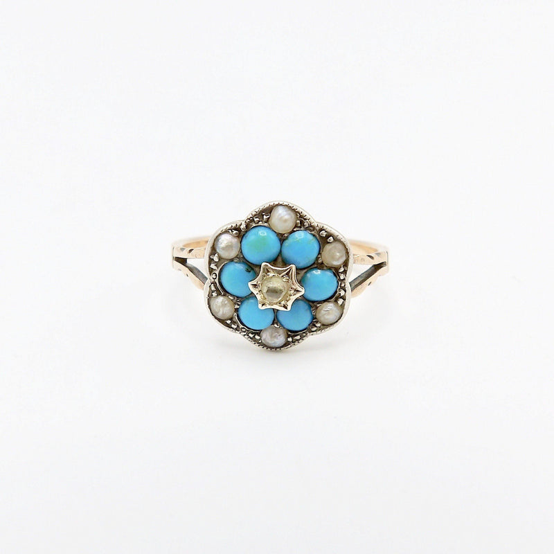 Early Victorian Diamond Turquoise and Pearl Ring - Kirsten's Corner Jewelry