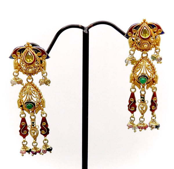 22K Gold Vintage Indian Chandelier Earrings with Peridot, Emerald and Tourmaline Kirsten's Corner Jewelry