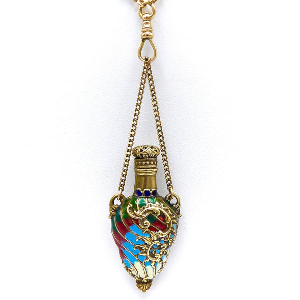 Champlevé Art Nouveau French Enamel Perfume Bottle Pendant Objects of Virtue Kirsten's Corner