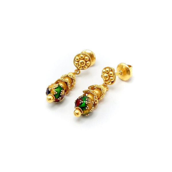 21.6K Gold Indian Cannetille Earrings with Multi Color Enamel Earrings Kirsten's Corner Jewelry