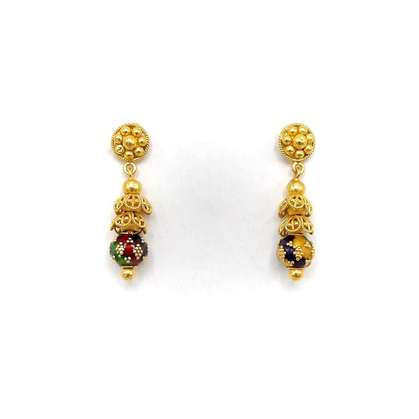 21.6K Gold Indian Cannetille Earrings with Multi Color Enamel - Kirsten's Corner Jewelry