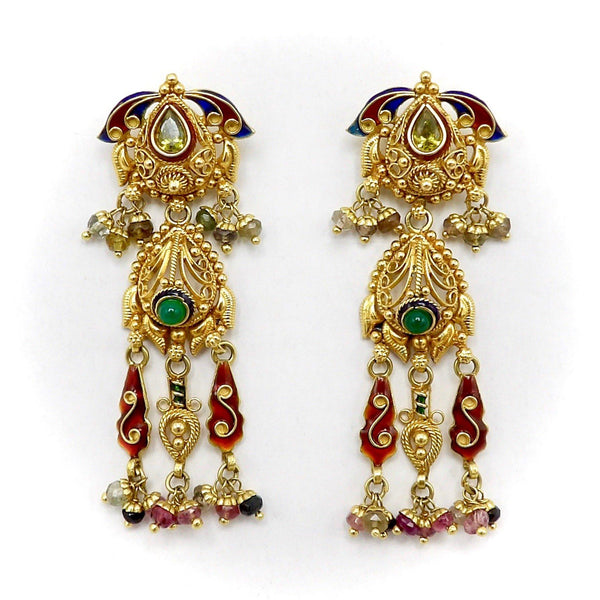 22K Gold Vintage Indian Chandelier Earrings with Peridot, Emerald and Tourmaline - Kirsten's Corner Jewelry