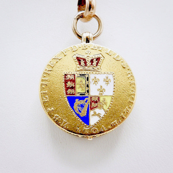 22K Gold Georgian Guinea Coin and Sardonyx Intaglio Locket - Kirsten's Corner Jewelry