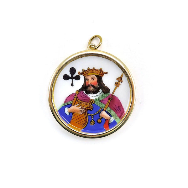 Victorian King of Clubs Whist Marker Pendant Charm Necklaces, Pendants Kirsten's Corner