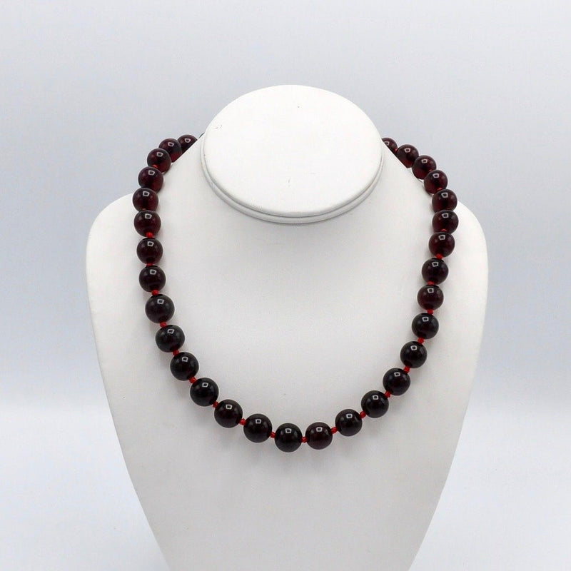 Cherry Amber 1930s Bakelite Bead Necklace - Kirsten's Corner Jewelry