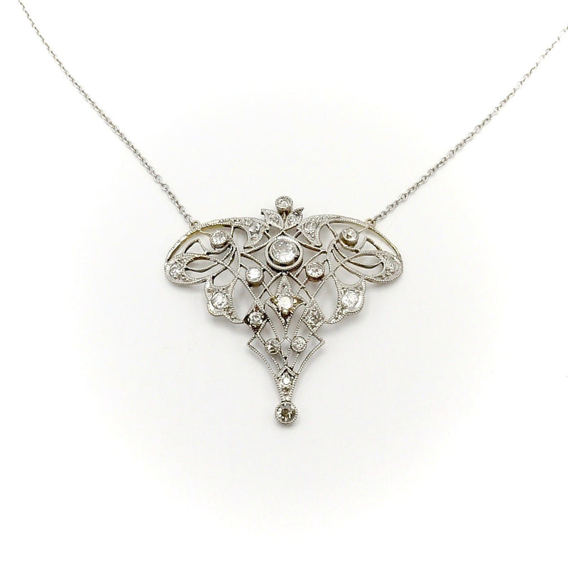 Edwardian 14K Gold and Platinum Diamond Necklace Necklace Kirsten's Corner Jewelry