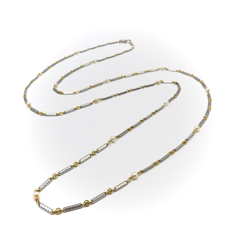 18K Gold & French Platinum Fancy-Link Necklace w/ Pearls Necklace Kirsten's Corner Jewelry