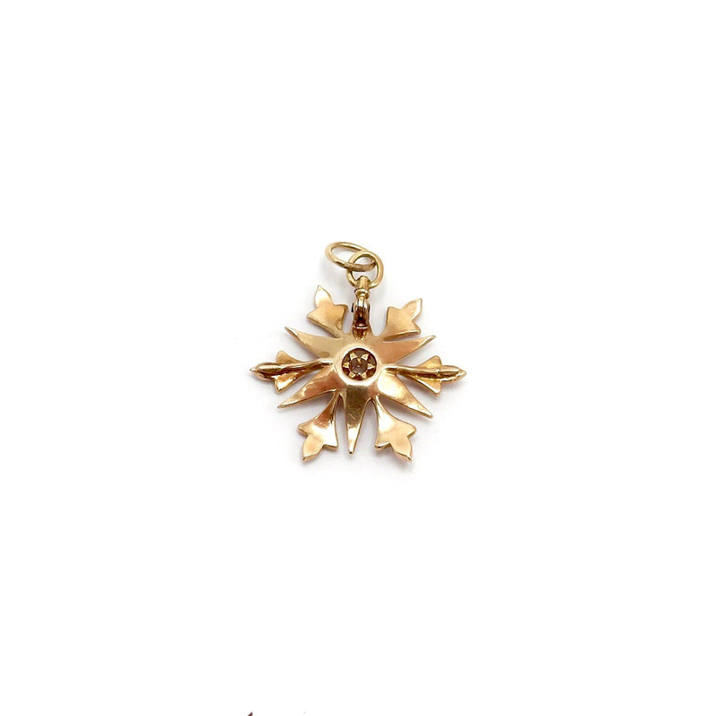14K Gold Victorian Seed Pearl Snowflake Pendant Pendant Kirsten's Corner Jewelry