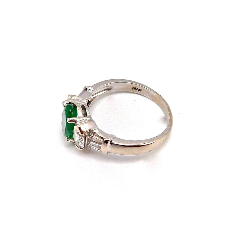 18K White Gold, Emerald & Diamond Ring RING Kirsten's Corner Jewelry