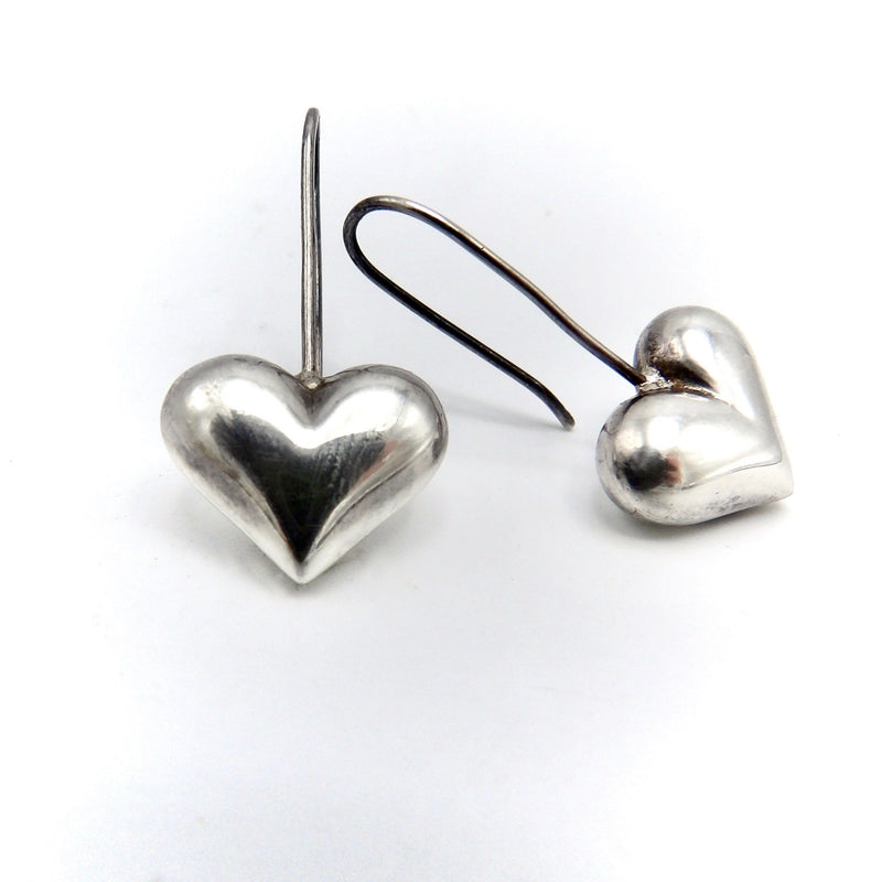 Vintage Sterling Silver Puffy Heart Earrings Kirsten's Corner