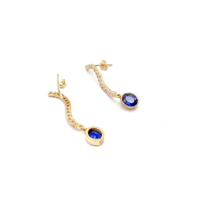 14K Gold, Sapphire and Diamond Dangle Earrings Earrings Kirsten's Corner Jewelry