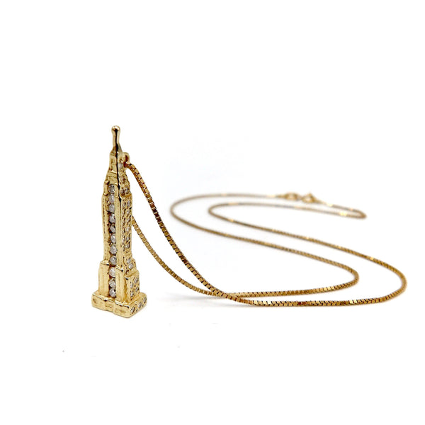 Vintage 14K Gold Empire State Building Charm Necklace with Diamonds Necklaces, Pendants Kirsten's Corner