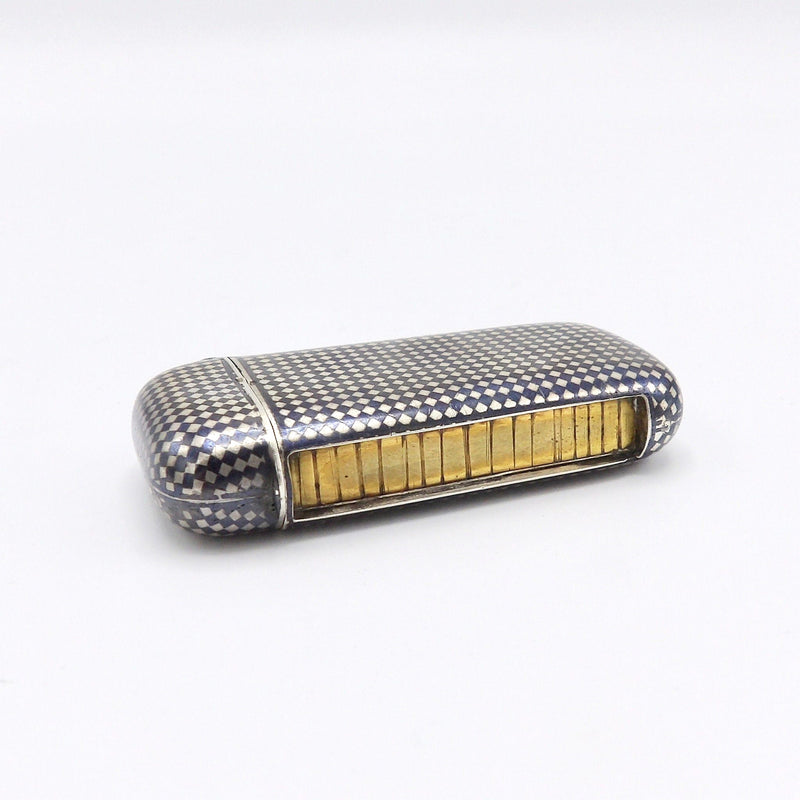 French Niello Sterling Silver Match Safe with Gilt Striker, Circa 1880 - Kirsten's Corner Jewelry