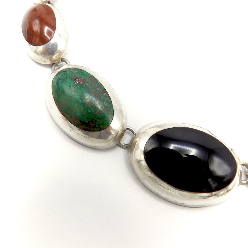 Stunning Taxco Sterling Silver Graduated Multi-Stone Necklace Necklace Kirsten's Corner Jewelry