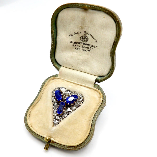 Victorian Ceylon No Heat Sapphire and Rose Cut Diamond Heart Shaped Pendant Pendant Kirsten's Corner Jewelry