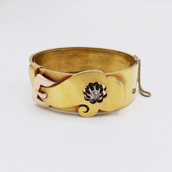 Victorian 14K Gold Collet-Set Diamond Cuff Buckle Bracelet - Kirsten's Corner Jewelry