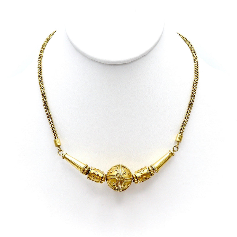 23K Gold Thai Baht Cannetille Necklace Necklace Kirsten's Corner